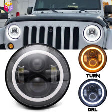 DOT 7inch Round CREE LED Headlight /w Halo Angle Eyes Fit Jeep Wrangler JK LJ TJ
