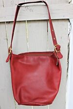 RARE Vintage COACH Duffle SAC HANDBAG PURSE RED Leather Bucket HOBO XL BAG #9085