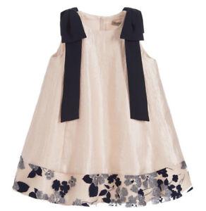 HUCKLEBONES LONDON Girls Dress Pale Pink With Navy Blue Shoulders Bows RRP £165