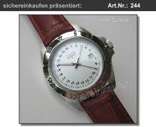 Trias GMT Herrenuhr/Damenuhr #244 weiß Bunkeruhr 24-Stunden-Uhr mit Datum Leder