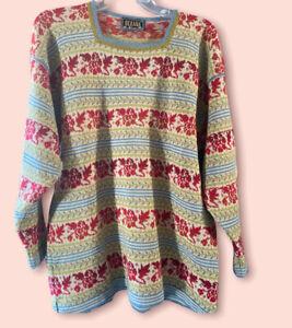 Oleana Vintage Medium Floral Wool Sweater Blue Green Red Long Sleeve Norway