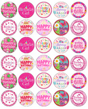 30 x Happy Birthday Pink Cupcake Toppers Edible Wafer Paper Fairy Cake Toppers