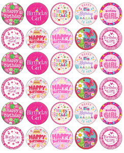 30x Pink Happy Birthday Cupcake Toppers Edible Wafer Paper Fairy Cake Toppers
