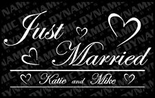 Custom Just Married sticker 12 x 22 your names vinyl window decal truck car jdm