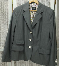 """BOGNER Women's Wool Blazer 42"""" Bust Grey Hand-Stitched Woven Woollen Jacket"""