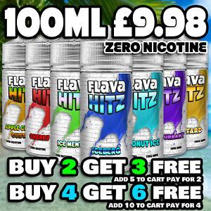 E Liquid 100ml Premium | FLAVA HITZ | High VG | Vape Juice - 0mg - No Nicotine