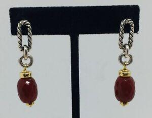 David Yurman Authentic Sterling Silver & 18k Gold Carnelian Dangle Earrings