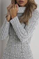Ladies Cowl Polo Neck Cable Knitted Jumper Pullover Bodycon Tunic Mini Dress
