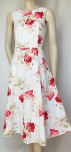 Laura Ashley Sommerkleid 36 Mohn weiß rot grün vintage Blumen Baumwolle