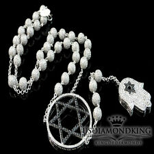 14k White Gold Finish Lab Diamond Bead Ball 6 Point Star Chain Rosary Necklace