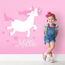 Personalizado Unicornio Mágico Niña Princesa Dormitorio De Caballo Decoración de Pared Adhesivo Calcomanía