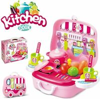 Kids Kitchen Set Role Pretend Play Food Cooking Playset (Pink)