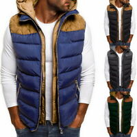 Men's Hood Quilted Vest Body Warmer Warm Sleeveless Padded Jacket Coat New 76