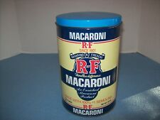 R~F Macaroni Metal 2 Pound Kitchen Storage Canister Container Tin w/Metal Lid