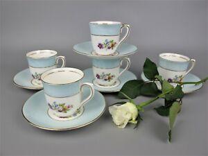 Vintage Colclough China 5 x Espresso / Coffee Cup set. Baby blue & floral. 100ml