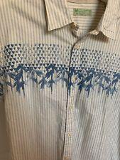 Scotch & Soda Mens Longsleeve Button Shirt XL Blue Stripe Palm Trees GREAT SHAPE