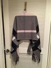 Chic Burberry 100% Cashmere Ivory Black Grey Plaid Check Wrap Shawl Scarf Huge