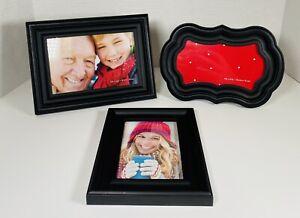 Set 3~Black Hard Plastic Picture Photo Frames 1~3.5x5 & 2~4x6