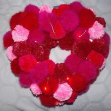 HAND CRAFTED ONE OF A KIND ILLUMINATED POMPOM CHRIMSTMAS HEART LED  LIGHTS