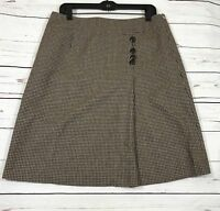 Vintage Talbot Women's Wool Skirt Brown Houndstooth A-Line Size 12