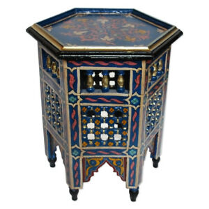 Moroccan Oriental Holz-Tisch Handbemalen Maurischen Style H42xD33cm
