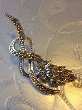 Victorian Style Marcasite Flower Bow Brooch