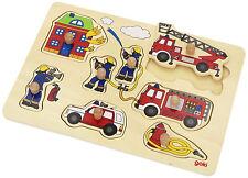 Goki - 57907 - Puzzle à Encastrements Bois - Le Pompier