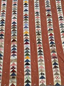 Vintage Handmade Quilt Soft Cotton Multi Color AS IS Red Triangle Flying Geese