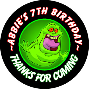 SLIMER GHOSTBUSTERS BIRTHDAY ROUND PARTY STICKERS FAVORS LABELS ~ VARIOUS SIZES