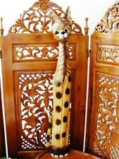 WOODEN CAT ORNAMENT 100CM - HAND CARVED AND HAND PAINTED