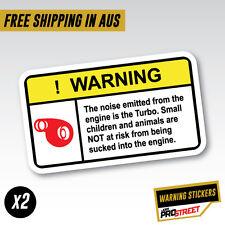WARNING TURBO NOISE x2 JDM CAR STICKER DECAL Drift Turbo Euro Fast Vinyl #0613