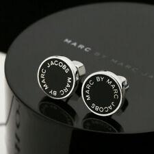 MARC BY MARC JACOBS Enamel Logo Disc Stud Earrings In Black/Silver