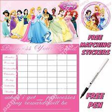 Disney Princess Personalised  potty training Reward Chart with stickers & pen