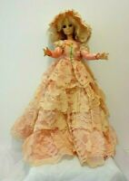 "Vtg 1963 Eegee 15"" Plastic Doll Blonde Hair Long Pink Tiered Lace Gown Needs TLC"
