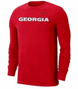 Georgia Bulldogs Mens Nike Wordmark Dri-Fit Cotton L/S T-Shirt - XXL - NWT