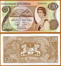 St. Helena, 20 Pounds, 1986, Large Size, P-10, QEII UNC