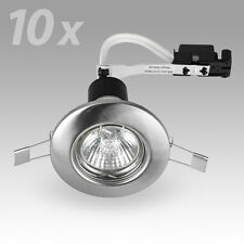 10 Brushed Chrome GU10 Ceiling Spot Light Downlighters Lights Downlight Fittings