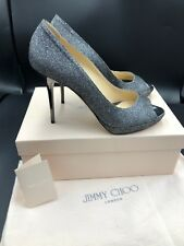5971e345aab Jimmy Choo  Luna  Glitter Anthracite Peep Toe Stiletto Heels Shoes Eu ...