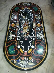 Black Marble Dining Hallway Table Top Floral Peacock Inlay Arts Furniture H3314