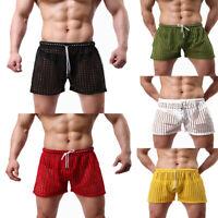 Mens Briefs Transparent Mesh Loose Lounge  Shorts Mesh Net Hollow Pants