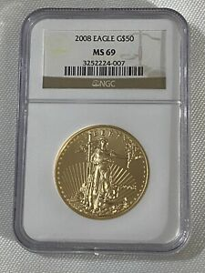 2008 Gold American Eagle 1oz Fine Gold Coin NGC MS69