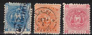 ECUADOR Scott 9 10 Used 11 Mint Hinged ## 1 cent start ##