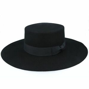 Bolero Hat   Spanish Wide Brim Hat   Wool Felt Round Crown Western Bolero Hat
