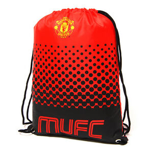 MANCHESTER UNITED FC FADE GYM BAG PE SCHOOL SWIMMING SPORT NEW XMAS GIFT