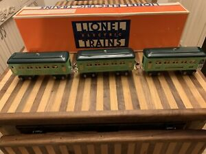 Lionel Prewar 3 Green Car Set Metal 2 607 Pullman 1 608 Observation Awesome!