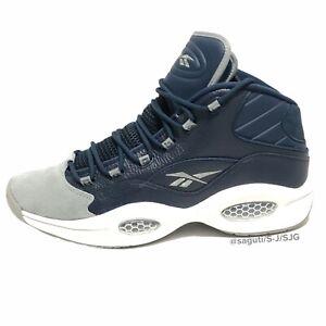 "Reebok Question Mid ""Georgetown"" Iverson Navy Grey FX0987 Basketball Men Size 15"