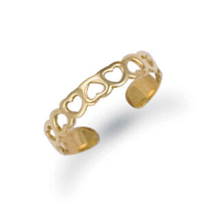 9CT GOLD SOLID OPEN HEARTS TOE RING Erin Rose Jewellery Co