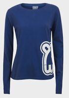 Ladies WUWI Navy Long Sleeve T Shirt Sizes XS,S,M,L,XL Gym Wear Casual Free P+P