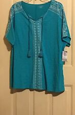 WOMENS CATHERINES TOP SHIRT PLUS 5X NWT GREEN 34 36 S/S WHITE ACCENT TASSELS