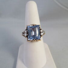 10K YELLOW GOLD 6.5 CT EMERALD CUT BLUE SPINEL & CLEAR CZ RING Sz 7